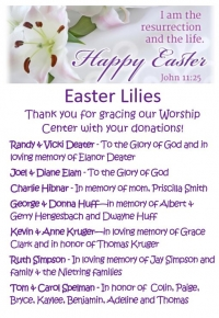 Easter Lily Dedications
