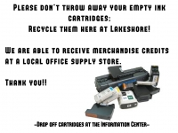 Bring in your empty printer/ink cartridges for recycling